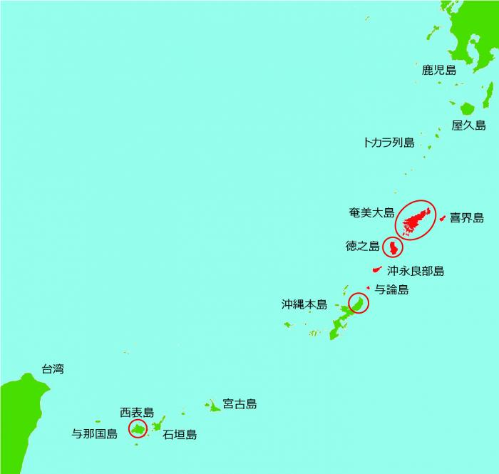 奄美・沖縄地図